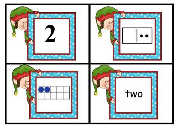 Freebie Holiday Elves Match Numbers, Number Words, Ten Frames, and Dominos