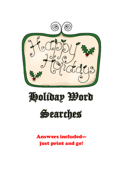 Freebie Holiday Word Searches