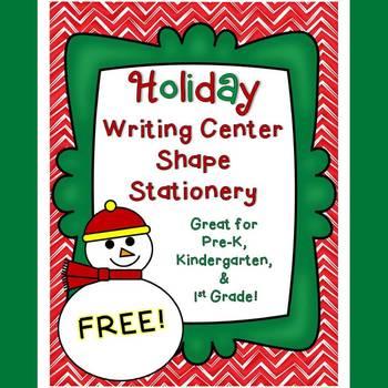 {Freebie!} Holiday Writing Center Shape Stationery
