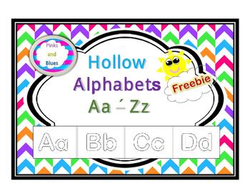 Freebie Hollow Letters Aa - Zz