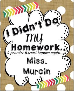 I didn't do my homework binder