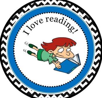 Freebie - I Love Reading Cartoon Badge - Gamify your classroom!