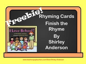 Freebie- I Love School Finish the Rhyme