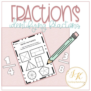 Freebie: Identifying Basic Fractions Introduction Worksheet 3.NF.A.1