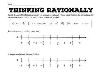 rational irrational numbers on a number line - Rational And Irrational Numbers Worksheet