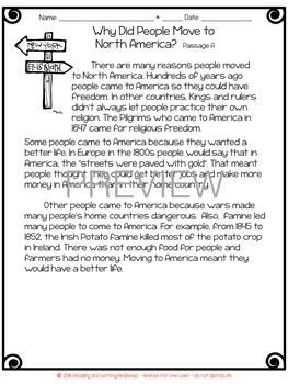 Freebie Immigration Reading Passages