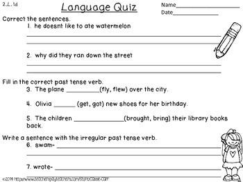 {Freebie!} Irregular Past Tense Verb Quiz~ 2.L.1d