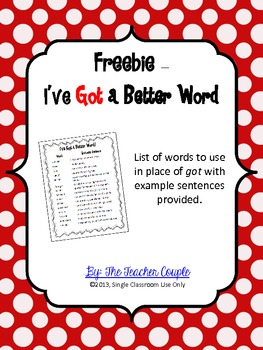 Freebie - I've Got a Better Word