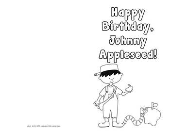Freebie Johnny Appleseed Birthday Card