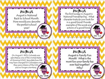Freebie  August Journal Writing Prompt Task Cards and Journal Writing Checklist
