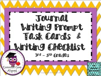 Freebie  August Journal Writing Prompt Task Cards and Jour