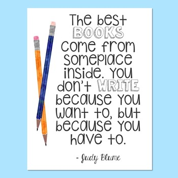 Freebie! Judy Blume Quote Poster - Double Fudge - Writing - Reading