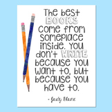 Freebie! Judy Blume Quote Poster - Double Fudge - Writing