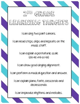 *Freebie* - K-5 Elementary Music Learning Targets/I Can Statements Printable