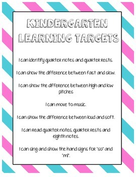 *Freebie* - K-5 Elementary Music Learning Targets/I Can St