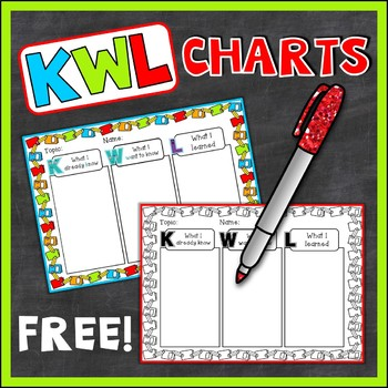 {Freebie} KWL Charts Student & Teacher Versions (Blacklines Included)
