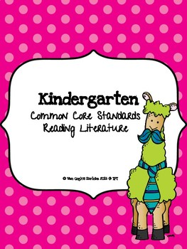 Freebie: Kindergarten Common Core Standards for Reading Literature