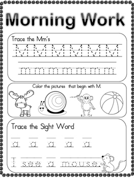 Freebie Kindergarten Morning Work - Alphabet & Sight Word Sample Pack