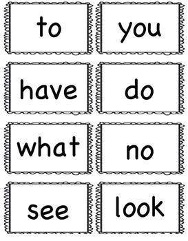 Freebie:  Kindergarten Sight Words Flash Cards (Large Version)