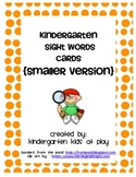 Freebie: Kindergarten Sight Words Flash Cards (Smaller  Version)