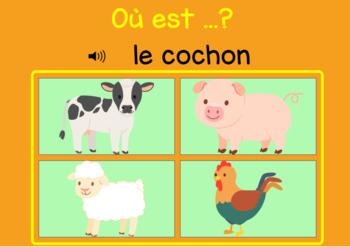 Freebie ~ La ferme ~ French Farm Animal Vocabulary BOOM Task Cards with Audio
