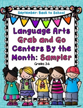 Freebie. Language Arts Grab and Go Centers by the Month: S