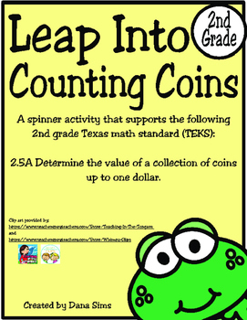 Freebie: Leap Into Counting Coins (2nd Grade TEKS 2.5A)