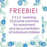 Freebie: Learning Outcomes Summary for individual children