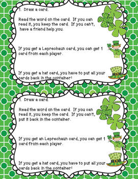 St. Patrick's Day Dolch Sight Word Games
