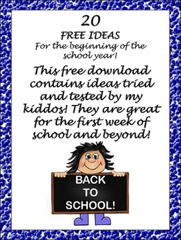 Freebie: List of Beginning of the Year Ideas, Games and Activities