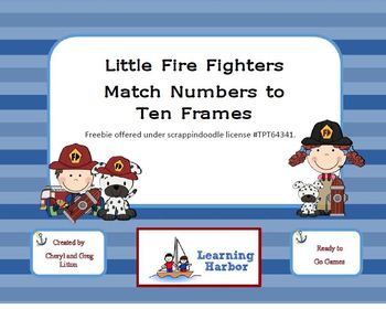 Freebie Little Firefighters Match Numbers to Ten Frames