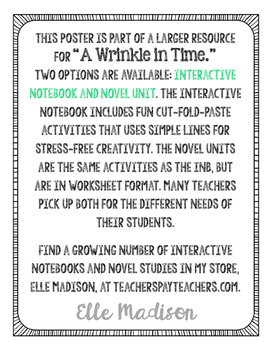 Freebie! Madeleine L'Engle Quote Poster - A Wrinkle in Time - Writing - Reading