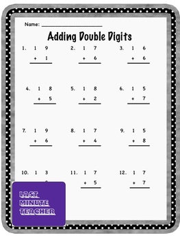Freebie! Math Addition Worksheet - Adding Double Digits
