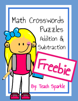 Freebie Math Crossword Puzzles (Addition and Subtraction) Sample
