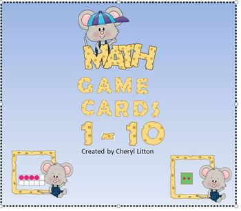 Freebie Math Game Cards Numbers Ten Frames Sets Dice