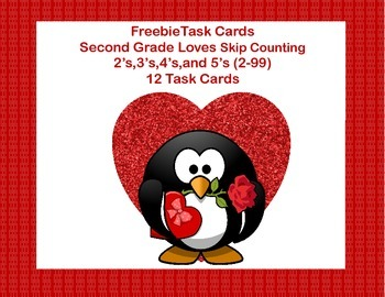 Freebie Math Task Cards-Skip Counting Second Grade-Valentine's