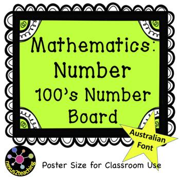 Freebie! Maths Number: 100's Board Classroom Display (Australian font)