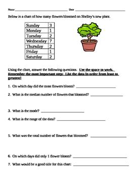 Freebie Mean Median and Mode Homework/Quiz