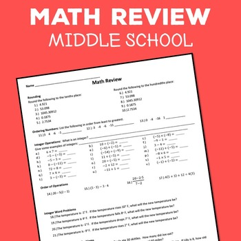 Middle School Math Review Worksheet, Rounding, Integers, a