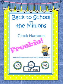 Freebie- Minion Clock Numbers