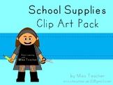 Freebie - Miss Teacher Clip Art - School Supplies