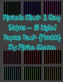 {Freebie} Monica's Black and Gray Stripes Digital Paper
