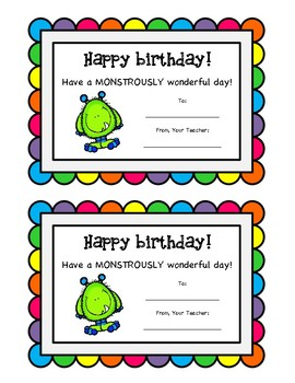 Freebie Monster Birthday Cards By Miss Turners Title I Shop
