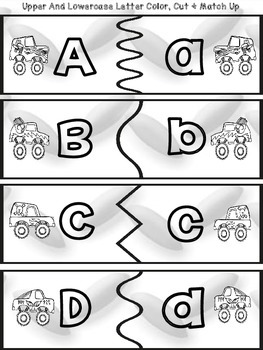 Freebie!  Monster Truck Lowercase and Uppercase Letter Puzzle Piece Matchup