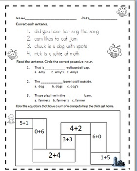 Freebie Morning Work or Homework Math ELA Grammar