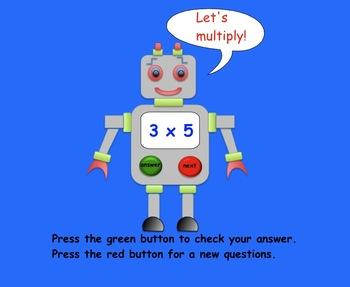 Freebie Multiplication Robot SMARTboard Activity