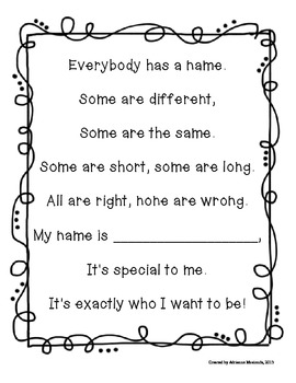 {Freebie!} Name Poems for Back to School