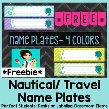 *Freebie* Nautical Travel Desk Name Plates