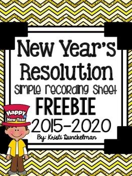 Freebie New Year's Resolution Recording Sheet