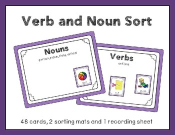 Freebie Noun and Verb Picture Sort